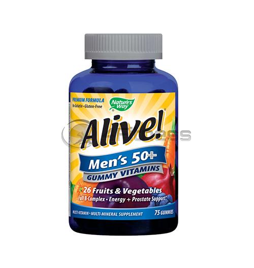 Alive Men's 50+ 94 mg./ Алайв – желирани мултивитамини за мъже 50+ 94 мг. – 75 Капс.