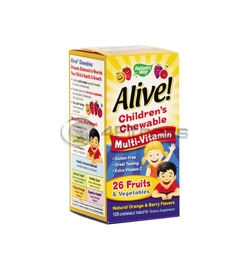 Alive – Children's Multi – Vitamin Chewable 1,55 гр./ Алайв дъвчащи мултивитамини за деца 1,55 гр. – 120 Капс.