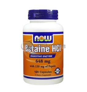 Betaine HCL - 648 mg. / 120 Caps.