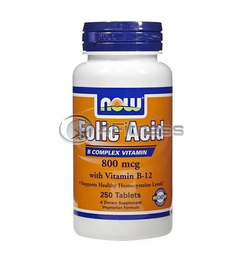 Folic Acid /800mcg./ + B-12 /25mcg./ – 250 VegTabs.