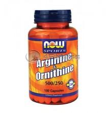 L-Arginine / Ornithine 500 - 250mg. / 100 Caps.