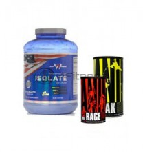 Whey Protein Isolate - 2270 gr. + ANIMAL PAK - 44 Paks + ANIMAL RAGE - 300 gr. Powder stack