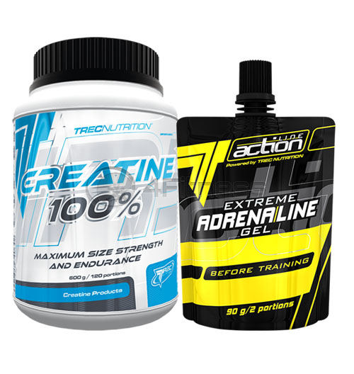 CREATINE 100% – 600 гр. + Extreme Adrenaline Gel 90 гр. – Гратис!