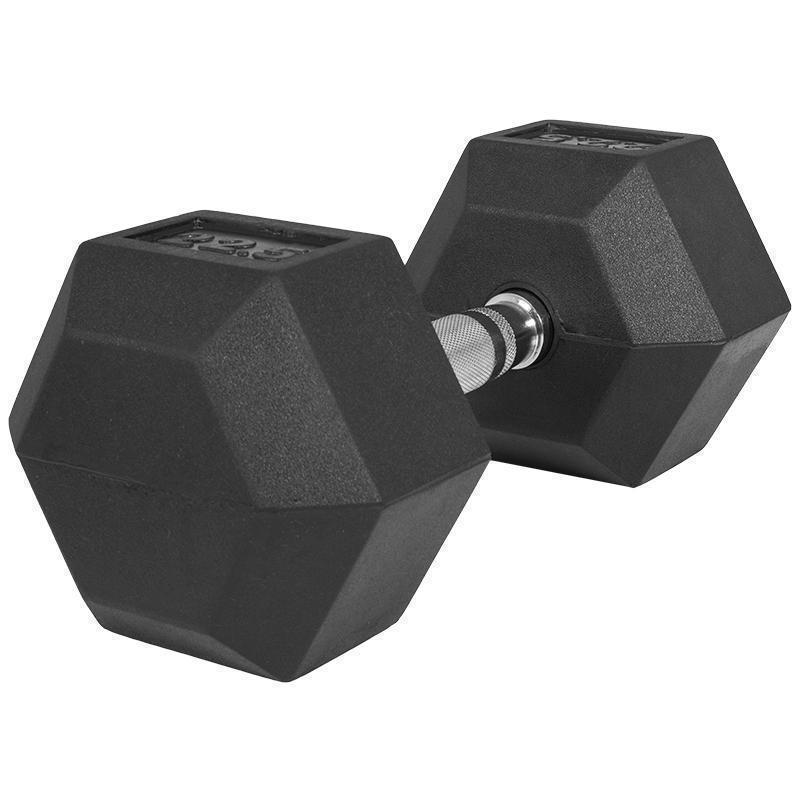 Професионален хексагонален дъмбел 22.5 кг. – гумиран