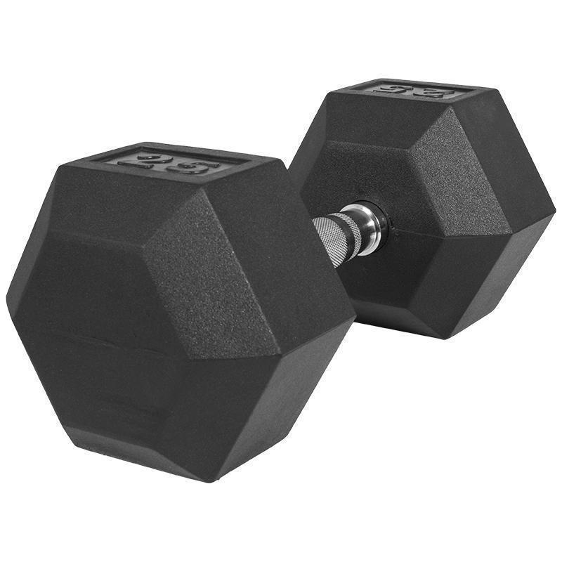 Професионален хексагонален дъмбел 25 кг. – гумиран