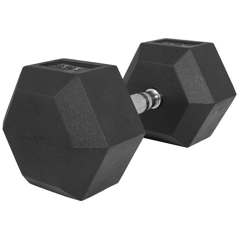 Професионален хексагонален дъмбел 42.5 кг. – гумиран