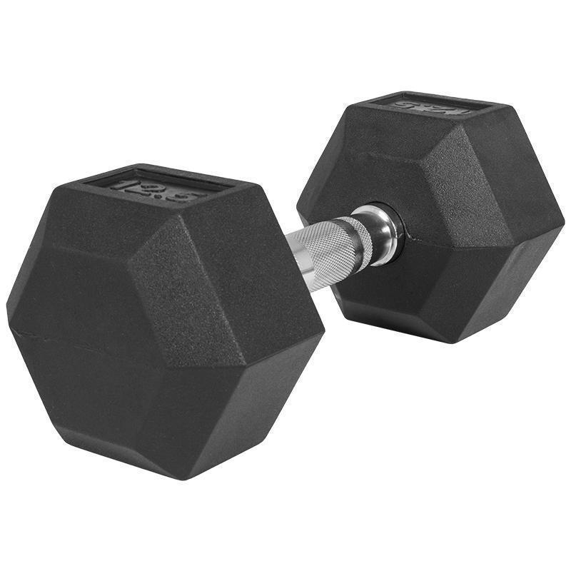 Професионален хексагонален дъмбел 12.5 кг. – гумиран